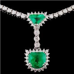 18K White Gold 3.03ct Emerald & 5.06ct Diamond Nec