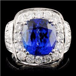 18K Gold 6.94ct Tanzanite & 2.00ctw Diamond Ring