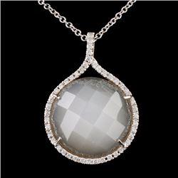 14K White Gold 10.00ct Moonstone & 0.20ct Diamond
