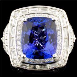 18K Gold 7.74ct Tanzanite & 1.54ctw Diamond Ring