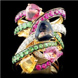 18K Gold 5.39ctw Sapphire & 0.50ctw Diamond Ring