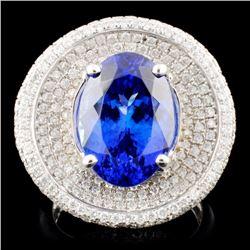 18K Gold 7.14ct Tanzanite & 1.20ctw Diamond Ring