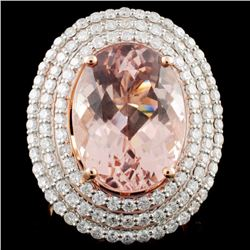 14K Rose Gold 9.77ct Morganite & 1.79ct Diamond Ri