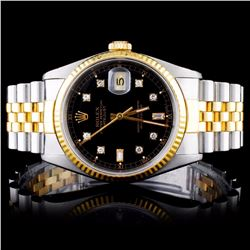 Rolex YG/SS DateJust Men's Diamond Wristwatch