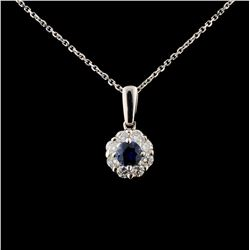 18K White Gold 0.36ct Sapphire & 0.46ct Diamond Pe