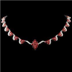 14K WG 12.52ct Sapphire & 1.14ct Diamond Necklace