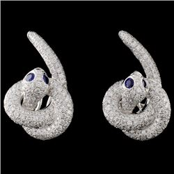 14K White Gold 0.22ct Sapphire & 2.19ct Diamond Ea
