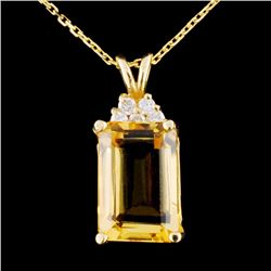 14K Gold 7.10ct Citrine & 0.17ctw Diamond Pendant