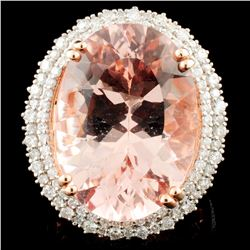 14K Rose Gold 19.64ct Morganite & 1.29ctw Diamond