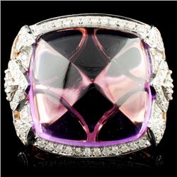 14K Gold 24.21ct Amethyst & 0.77ctw Diamond Ring