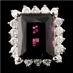 14K Gold 6.63ct Tourmaline & 0.67ctw Diamond Ring