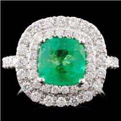 18K Gold 2.06ct Emerald & 0.91ctw Diamond Ring