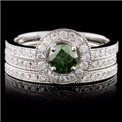 14K White Gold 1.10ctw Fancy Color Diamond Ring