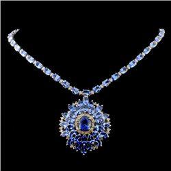14K White Gold 42.50ct Tanzanite & 2.20ct Diamond