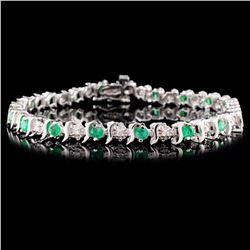 14K White Gold 1.80ct Emerald & 0.25ct Diamond Bra