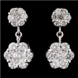 14K White Gold 3.13ctw Diamond Earrings