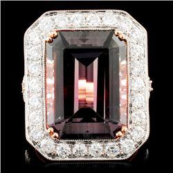 18K Gold 10.78ct Tourmaline & 1.47ctw Diamond Ring
