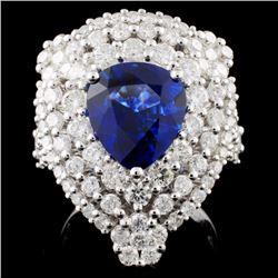 18K Gold 3.65ct Sapphire & 1.82ct Diamond Ring