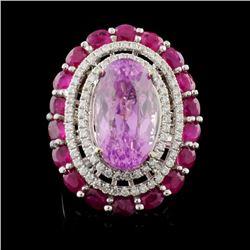 18K Gold 10.25ct Kunzite & 0.72ct Diamond Ring