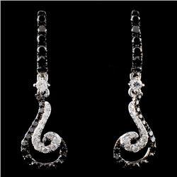 14K White Gold 0.93ctw Fancy Diamond Earrings