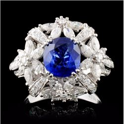 18K White Gold 2.01ct Sapphire & 1.77ct Diamond Ri