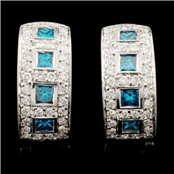 14K Gold 1.74ctw Fancy Color Diamond Earrings
