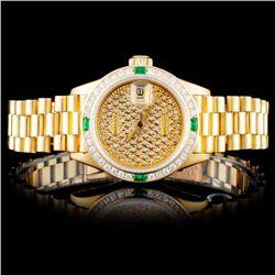 Rolex 18K YG DateJust 1.00ct Diamond Ladies Watch