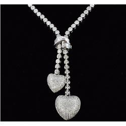 14K White Gold  2.82ct Lariat Style Diamond Neckla