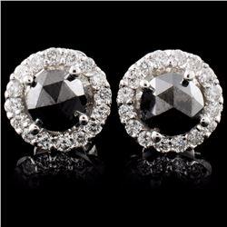 14K White Gold 1.17ctw Fancy Color Diamond Earring