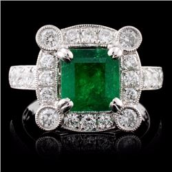 18K White Gold 1.63ct Emerald & 1.04ct Diamond Rin