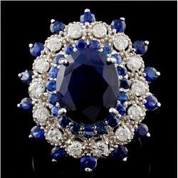 14K White Gold 7.50ct Sapphire & 1ct Diamond Ring
