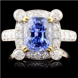 18K White Gold 4.18ct Sapphire & 1.02ct Diamond Ri