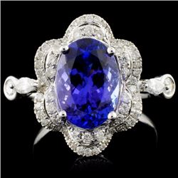 18K White Gold 3.31ct Tanzanite & 0.61ct Diamond R
