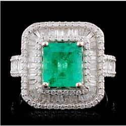 18K White Gold 1.69ct Emerald & 1.35ctw Diamond Ri