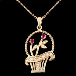 14K Gold 0.24ctw Ruby & 0.36ctw Diamond Pendant