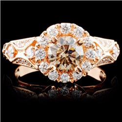 18K Rose Gold 1.34ctw Fancy Color Diamond Ring