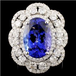 18K Gold 8.49ct Tanzanite & 2.30ctw Diamond Ring