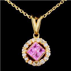 18K Gold 0.70ctw Sapphire & 0.47ctw Diamond Pendan
