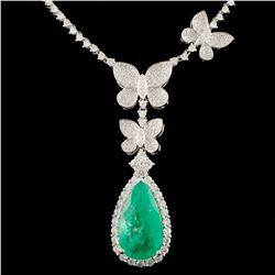 18K Gold 5.20ct Emerald & 3.13ctw Diamond Necklace
