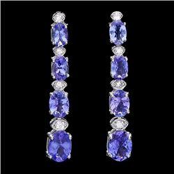 `14k Gold 5ct Tanzanite 0.35ct Diamond Earrings