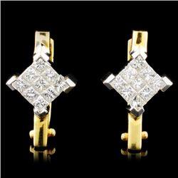 18K Gold 1.00ctw Diamond Earrings