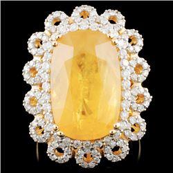 14K Gold 7.23ct Sapphire & 1.24ctw Diamond Ring