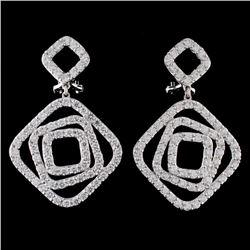 18K White Gold 3.65ct Diamond Earrings