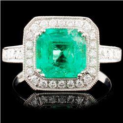 18K Gold 1.99ct Emerald & 0.75ctw Diamond Ring