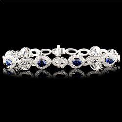 14K Gold 3.26ctw Sapphire & 1.70ctw Diamond Bracel