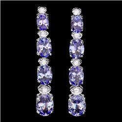 `14k Gold 7ct Tanzanite 0.45ct Diamond Earrings