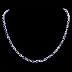 `14k W Gold 23ct Tanzanite 1.25ct Diamond Necklace