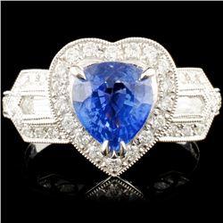 18K Gold 2.01ct Sapphire & 0.80ctw Diamond Ring