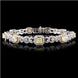 18K White Gold 5.66ctw Fancy Color Diamond Bracele