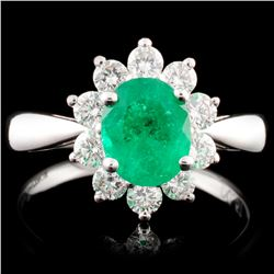 18K Gold 1.01ct Emerald & 0.57ctw Diamond Ring